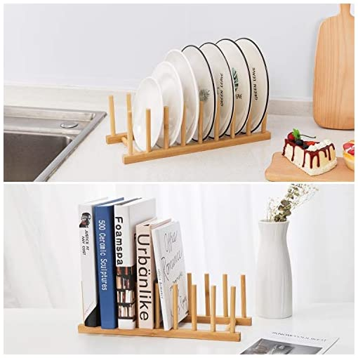 Kitchen HBlife 4pcs Bamboo Dish Plate Bowl Cup Book Pot Lid Cutting Board Drying Rack Stand Drainer Storage Holder Organizer… pot lid holders