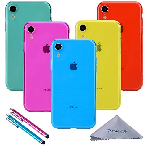 iPhone XR Case, Wisdompro Bundle of 5 Pack Extra Thin Slim Jelly Soft TPU Gel Protective Case Cover for Apple iPhone XR (Blue, Aqua Blue, Hot Pink, Yellow, Red)- Transparent Color (Coral Blue Iphone 5 Case)