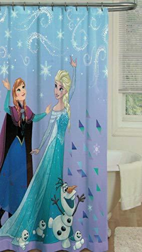 Kids Warehouse Disney Frozen Shower Curtain - Fabric Shower Curtain - Featuring Anna, Elsa and Olaf (Disney Bathroom Frozen)