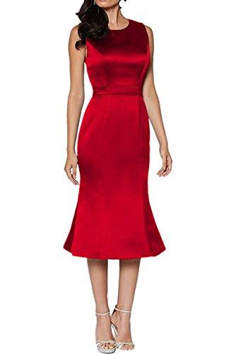 Festlichkleider Etuikleider Charmant Rosa Satin Damen Rot Partykleider Hochwertig Abendkleider Wadenlang waw8gUq