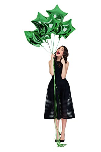 Treasures Gifted Merry Christmas Green Star Mylar 18 Inch Foil Balloons Pack of 6 for 2019 New Year Party Supplies Birthday or Wedding Celebrations