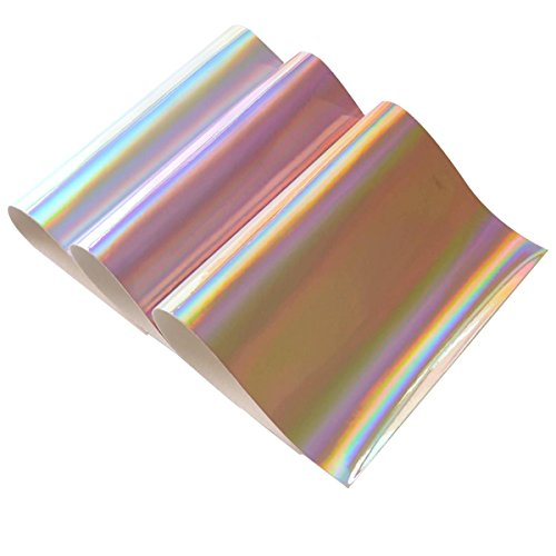 Holographic Faux Leather Fabric Sheet- 3 Pieces A4 Size Assorted Colors Holographic Fabric Sheets for Hair Bows Making, Headband Making, Hair Clips Making, Kids' Crafts Making, Bag Make (Mix Color-2) (Pink Star Synthetic)