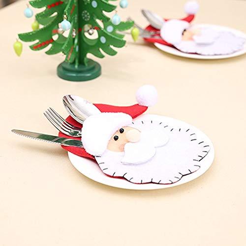 Xligo Wholesale 2015cm Santa Claus Decorative Hat Tableware Knife Fork Set Storage Tool Festive P20 -