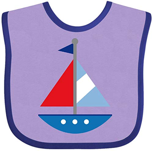 - Inktastic - Sailboat Baby Bib Lavender and Purple 105eb