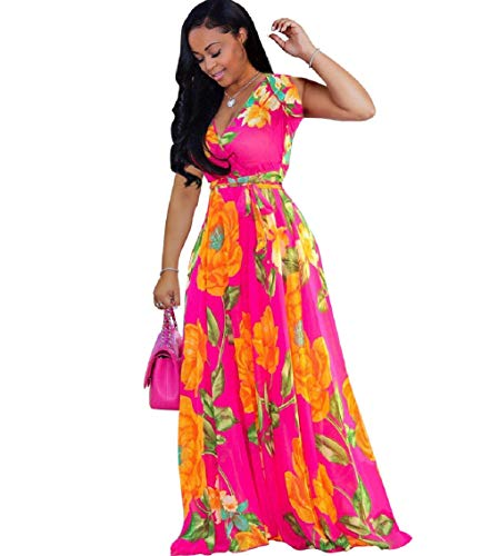 lvenzse Womens Chiffon V-Neck Printed Floral Maxi Dress Sleeveless Dresses High Waisted Belt Plus Size, Sleeveless-rose, X-Large (Turquoise Maxi Dress Plus Size)