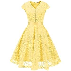 ab6efb4a3e5eb7 MUADRESS 6004 Vintage V-Neck Floral Lace Bridesmaid Dress Cap-Sleeve Yellow  S