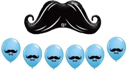 CakeDrake MUSTACHE Stash BASH Blue Boy (7) Birthday Party Mylar & Latex BALLOONS Set