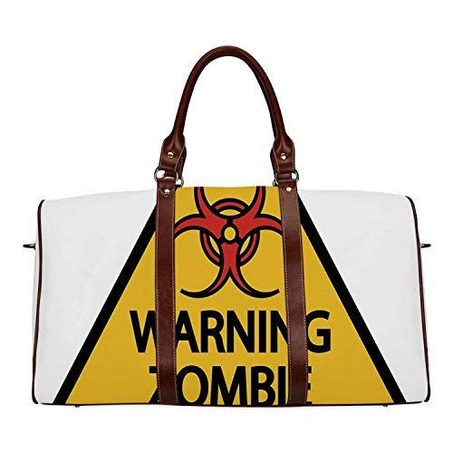 Zombie Decor Economic Travel Bag,Warning Zombie Outbreak Sign Cemetery Infection Halloween Graphic Decorative for Weekend,20.8