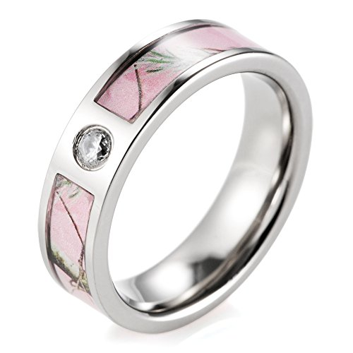 SHARDON Women's 6mm Titanium Pink Branches Camo Ring with CZ Stone Inlay Size 6 (Pink Camo Rings Wedding)