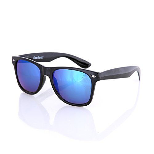 Shaderz Sunglasses Classic Glossy Black Frame Retro 80's Reflective Mirror ICE ()