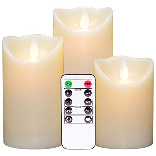 Eldnacele Moving Wick Flameless Flickering Candles with Timer Remote Control(3