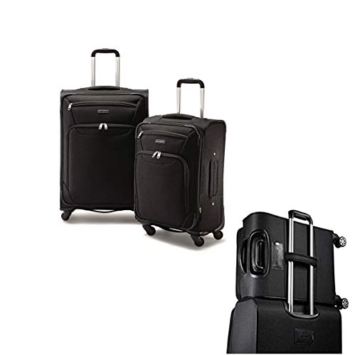 Samsonite StackIt 2 Piece Softside Spinner Carry On Luggage Set Black 20 Inch (2 Piece Stackable Luggage Set)