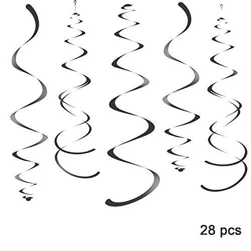 WEVEN Black Party Hanging Swirl Decorations Plastic Streamer for Ceiling, Pack of 28]()