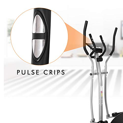 ncient Elliptical Machine Eliptical Trainer Exercise Machine for Home Use Magnetic Smooth Quiet Driven with LCD Monitor and Pulse Rate Grips (Black)