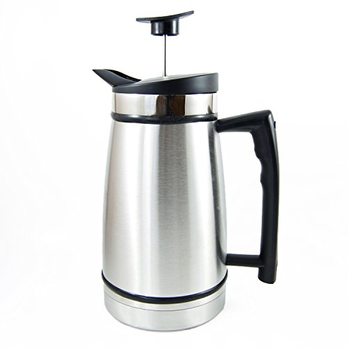 Planetary Design French Press Table Top Coffee and Tea Maker Carafe with Bru-Stop Technology - 48 oz - Stainless Steel - Brushed Steel ()
