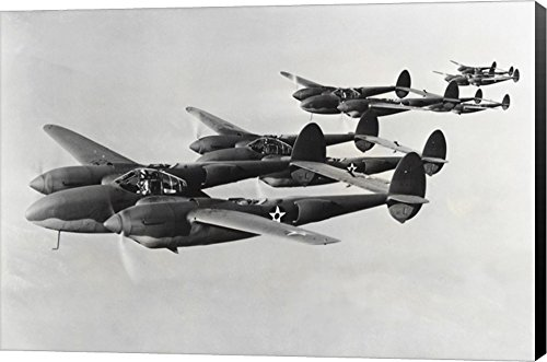 - Four Fighter Planes in Flight, P-38 Lightning Canvas Art Wall Picture, Museum Wrapped with Black Sides, 25 x 17 inches