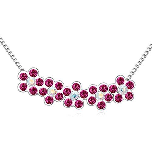AmDxD Jewelry Alloy Pendant Necklaces for Women Flower Fuchsia (Phiten X 30 Titanium Necklace)