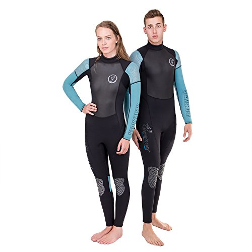 Seavenger Odyssey 3mm Wetsuit | Full Body Neoprene Suit for Scuba Diving, Snorkeling, Freediving (Surfing Aqua, Women's 15)
