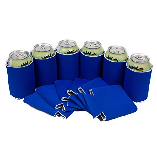 QualityPerfection 12 Royal Blue Party Drink Blank Can Coolers(12,25,50 Bulk Pack) Blank Beer,Soda Coolies Sleeves | Soft,Insulated Coolers | 30 Colors | Perfect For DIY Projects,Holidays,Events