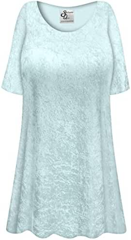 Frost Blue Crush Velvet Plus Size Supersize Extra Long A-Line Top