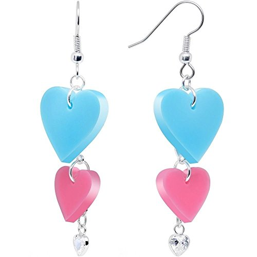 Clear CZ Pink and Turquoise Pretty Triple Heart Dangle (Triple Strand Turquoise Bead)