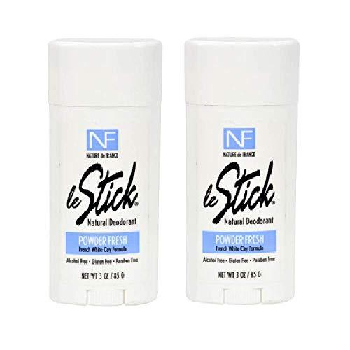 Le Stick Natural Aluminum Free Deodorant Powder Fresh 3 Oz 2 Pack