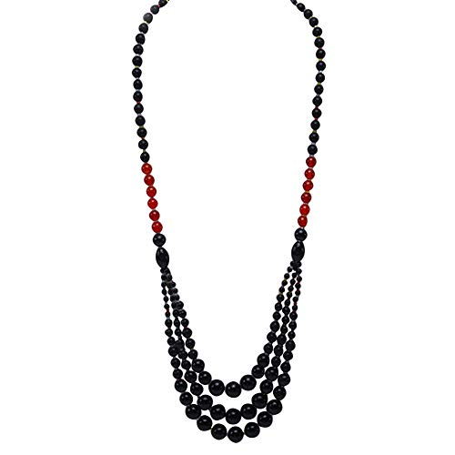 JYX Handmade Multi Size Black and Red Round Agate Necklace Onyx Genmstone Beads Chunky Necklace for Women 29