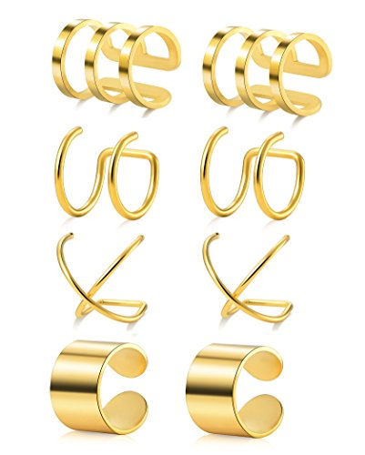 Tornito 4 Pairs Stainless Steel Ear Cuff Helix Cartilage Clip On Wrap Earrings Fake Nose Ring Non-Piercing Adjustable (B1: 4 Pairs, Gold Tone)