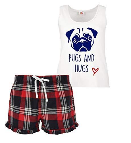 Hugs Court Rouge Volants Ensemble Pugs Écossais Pyjama À Femmes Bleu Vert Et 7xnY5