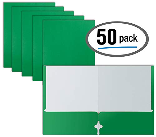 Two Pocket Portfolio Folders, 50-Pack, Green, Letter Size Paper Folders, by Better Office Products, 50 Pieces, Green
