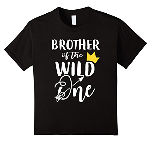 Kids Funny Brother Of The Wild One 1st Birthday Matching Shirt 4 Black -