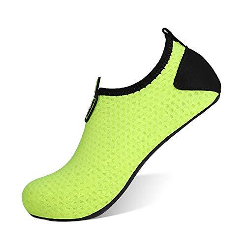 HEETA Barefoot Water Sports Shoes for Women Men Quick Dry Aqua Socks for Beach Pool Swim Yoga Dot_Green M