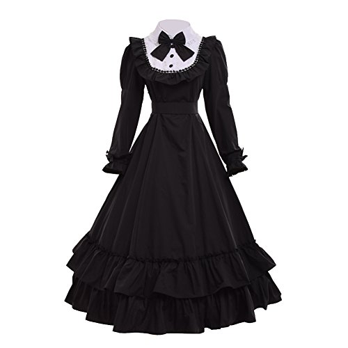 GRACEART Victorian Ball Gown Civil War Dress (2X-Large) Black -