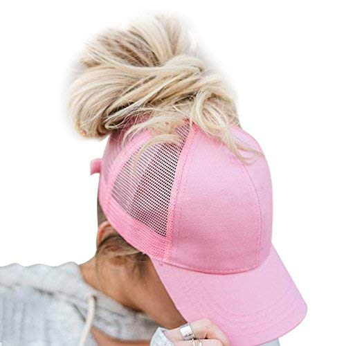 Womens Ponytail Messy High Buns Trucker Ponycaps Plain Baseball Visor Cap Dad Hat Adjustable Snapback - Adjustable Pink Hat