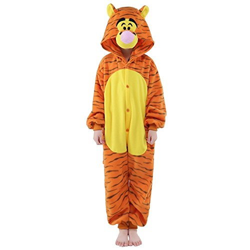 NEWCOSPLAY Kids Plush One Piece Cosplay Onesies Costume (125, Tigger) -