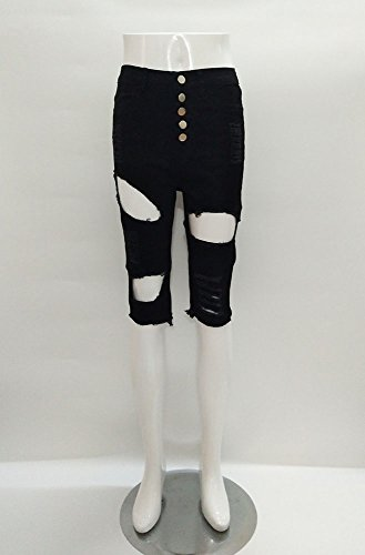 Haute Pantalon Taille Skinny Casual Ripped Pantalon D't Hole Court Noir Cropped Mode Effiloch Jeans Denim Femmes drArTxvw
