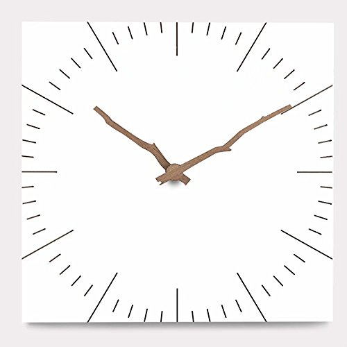 FlorLife Extra Large Decorative Wall Clocks, Square MDF Wooden Home Clock No Frame, Walnut Wood Pointer, Simple White Vintage Style Battery Operated Quartz Wall Hanging Clock without Ticking Sound by FlorLife