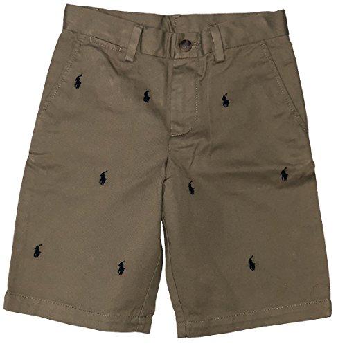 Button Fly Boyshort (RALPH LAUREN Polo Boys Shorts All Over Multi Pony Stitching (Khaki, 6))