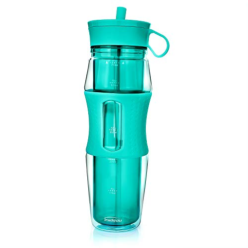 Trudeau Cool Off Double Wall Insulated Sport Water Bottle for Cold Drinks | BPA Free SAN Plastic | Silicone Straw | Non-Slip Grip | Great for Outdoor, Bicycle, Camping & Gym | 24 oz (Aqua)