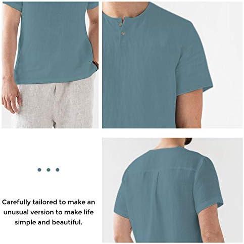 Men Short Sleeve Linen Henley Shirts Summer Casual Tops Cotton Beach T Shirts