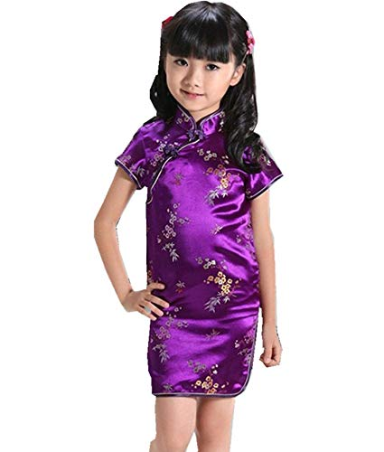 2001 Wedding Gown - Miracle day Russia Chinese Kid Child Girl Flower Cheongsam Dress Girls Qipao Faux Silk Clothes,Purple,4XL