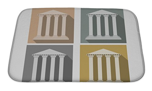 Doric Bath (Gear New Bath Rug Mat No Slip Microfiber Memory Foam, Grey Building With Columns Set Of Icons In A Flat Style Column Doric Roman Style,)