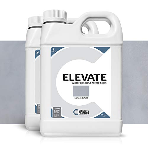 Elevate Water Based Concrete Stain, Semi-Transparent Concentrate Organic Concrete Colorant, for Concrete and Cement, Makes 2 Gallons (400 sq ft), Carrara White (Pack of 2)