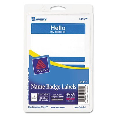 Avery Products - Avery - Print/Write Self-Adhesive Name Badges, 2-11/32 x 3-3/8, Blue, 100/Pack - Sold As 1 Pack - Adhere firmly and remove easily. - Ideal for identifying individuals at offices, schools and special events. - Displays issue date and expir