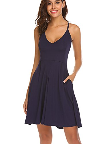 Halife Sexy Spaghetti Straps V-Neck A-Line Homecoming Dress with Pockets for Juniors Girls Navy ()