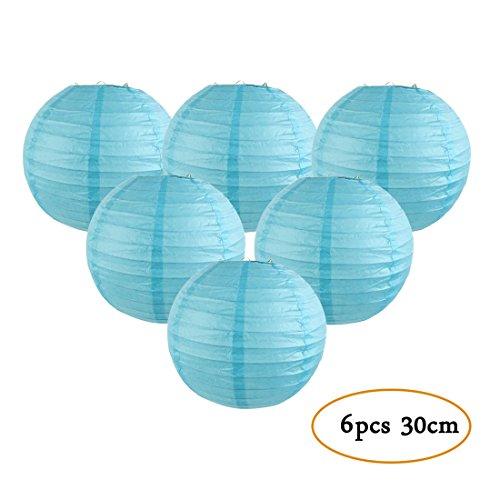 Set of 6 Paper Lanterns Round Lamp Shade Wedding Birthday Party Hanging Decoration Easy Joy (Sky Blue, 12inch) ()