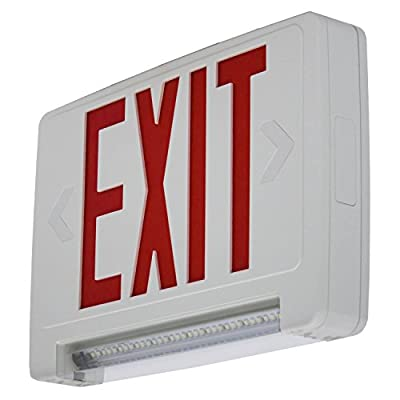 LED Emergency Exit Sign Combo - Lightpipe Red Letters - Battery Backup
