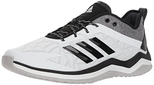 adidas Men's Speed Trainer 4 Baseball Shoe, Crystal White/Black/Carbon, 8.5 M US