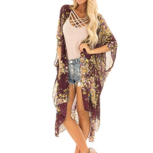(Pretty Cardigan Womens Printing Middle Sleeve Long Smock Blouse Tops)