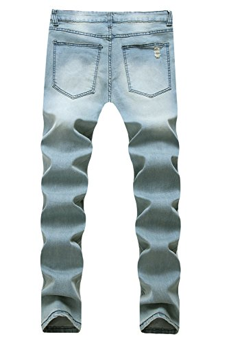 NITAGUT Men's Ripped Skinny Destroyed Slim fit Jeans Pants with Holes Light Blue US 32